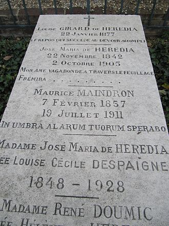 Tombe de J-M de Heredia à Bonsecours